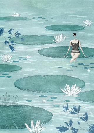 Illustration of swimming lake