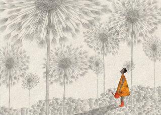 gardening, book, story, children, kids, dandelion clocks, girl, orange, limited colour