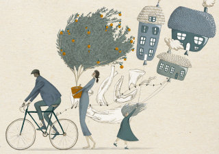 editorial, magazine, spread, page, bike, cycling, blue, orange, limited colour, conceptual