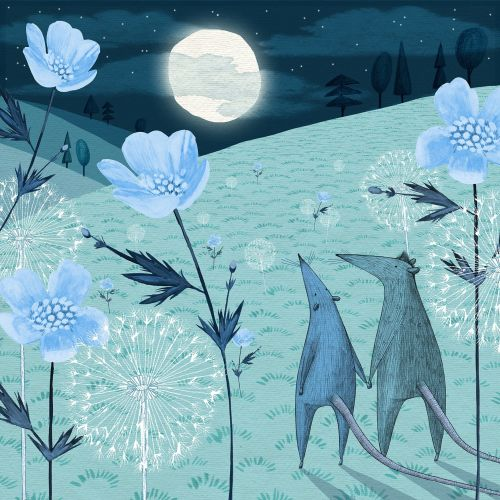 Illustration of moonlit fields
