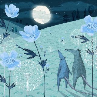 Illustration of moonlit fields