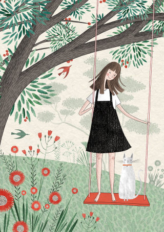 children, children's book, swing, kids book, cat, page, kids, playing