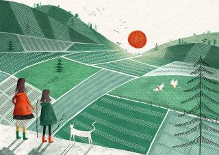 Digital art landscape for children's book