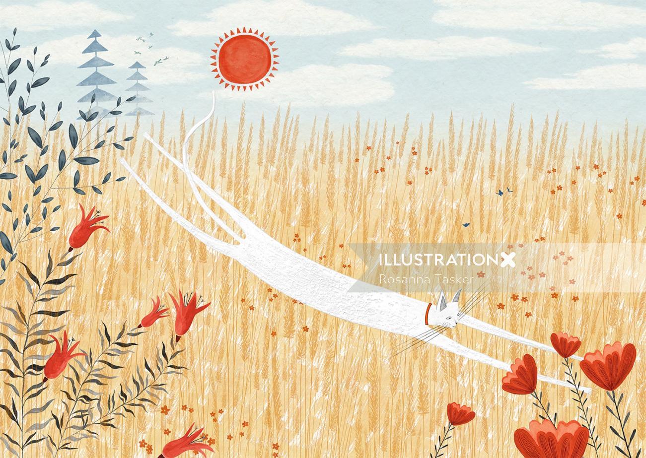 Cat jumping watercolor artwork by Rosanna Tasker