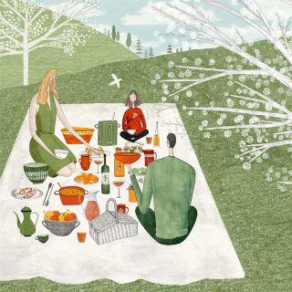 watercolor art of family picnic