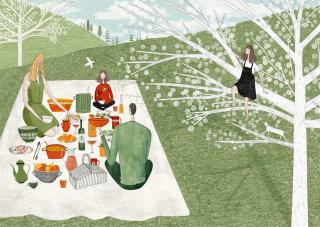 children, children's book, kids book, cat, page, spread, fields, kids, family, picnic, tree climbing