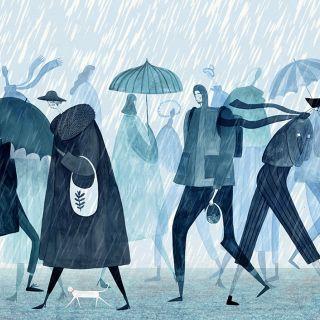 rain, raining, cat, city, street, london, busy, umbrella, walking
