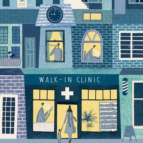 Cover for HealthLeaders magazine about Walk-in Clinics