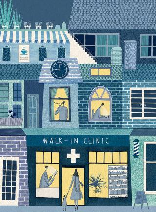 cover, magazine, apartments, flats, street, town, city, shop, shops, windows, care