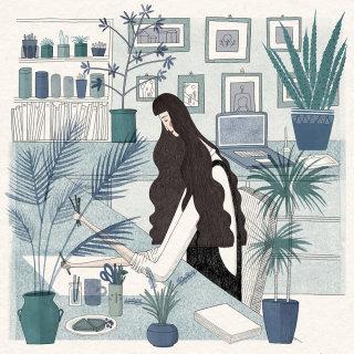 person, girl, illustrator, artist, desk, office, studio, art, illustration, self portrait, drawing