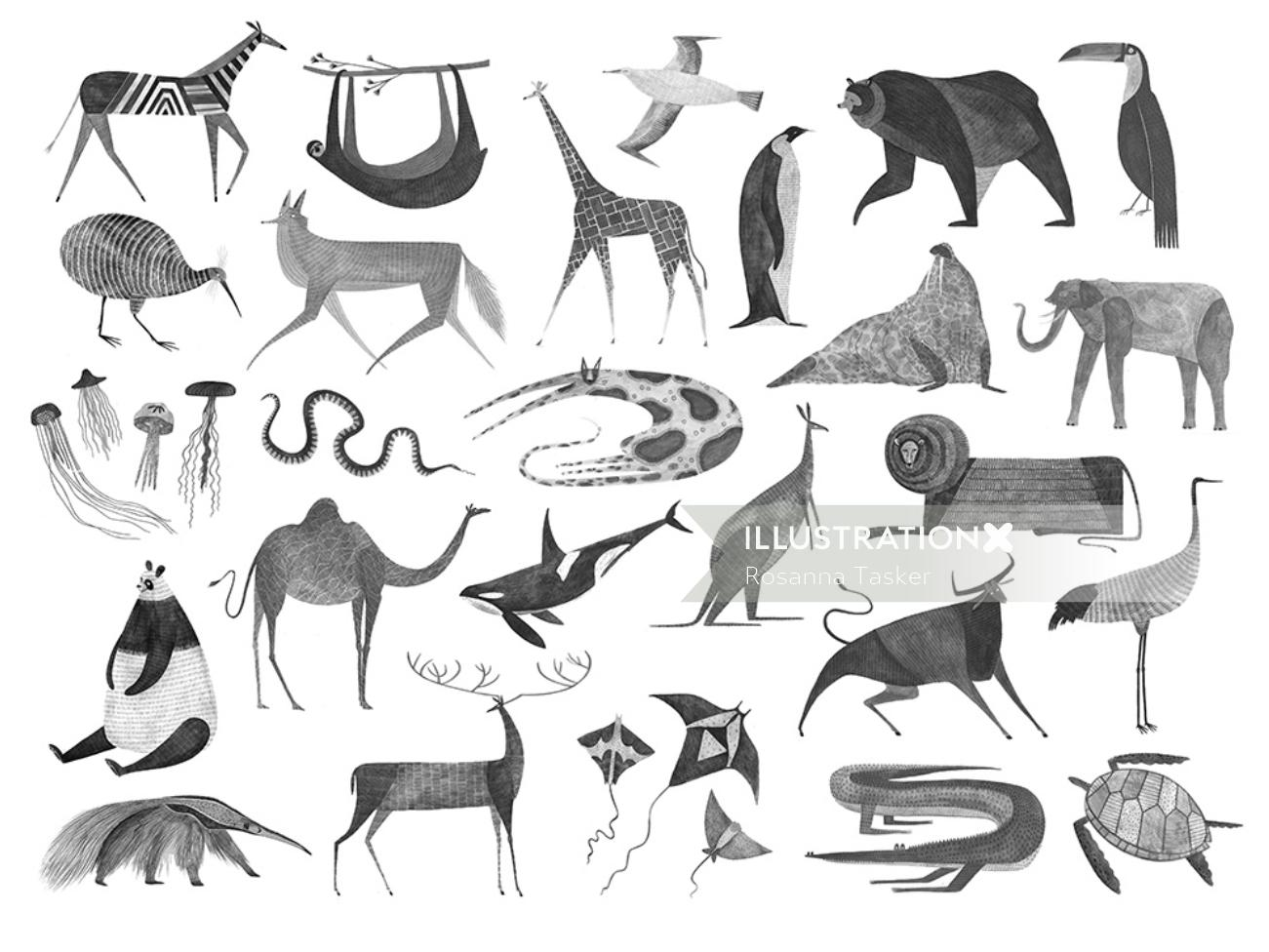 A selection from series of animal paintings for a world map