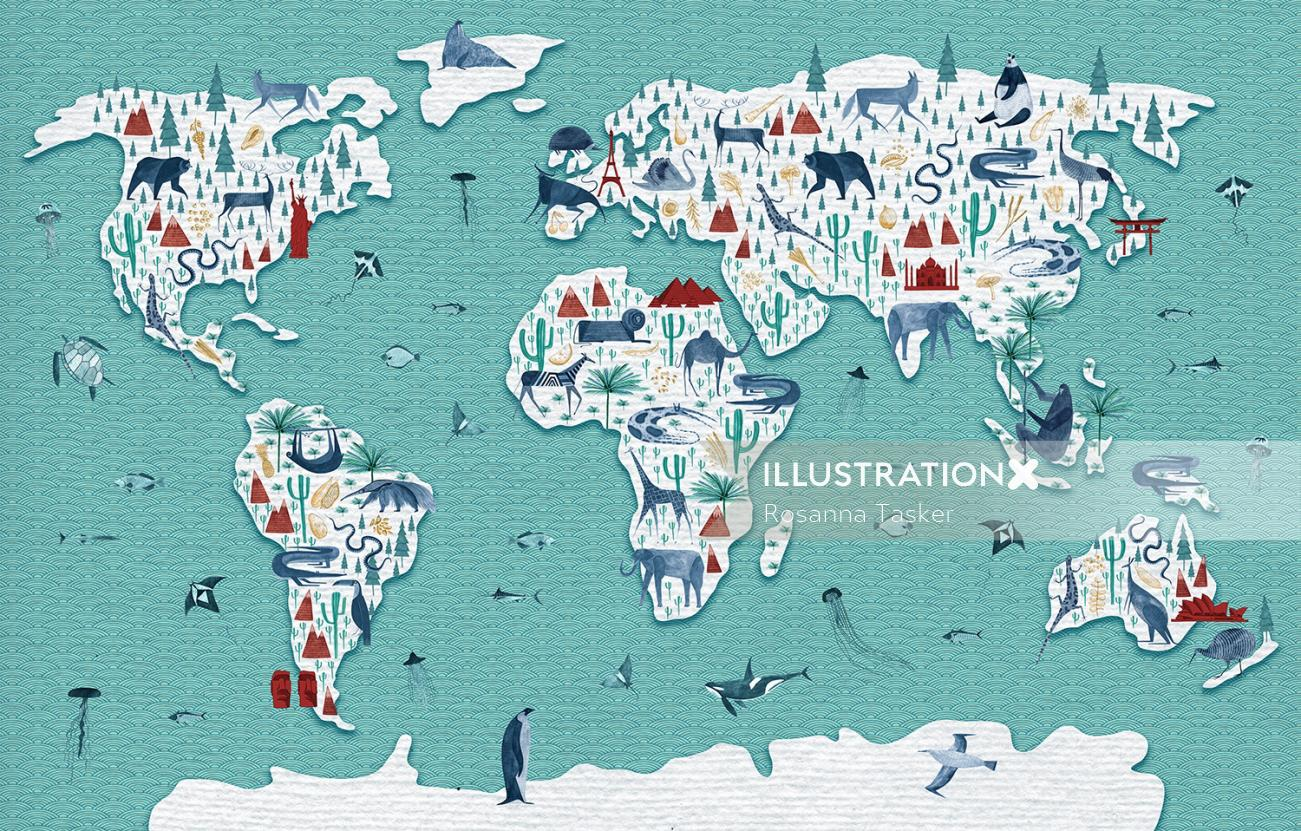 Animals of the world illustration