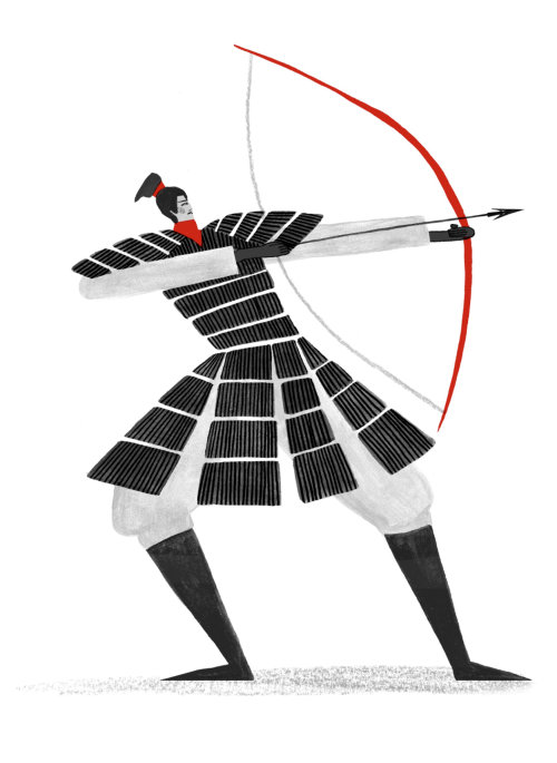 Black and white drawing of chinese warrior