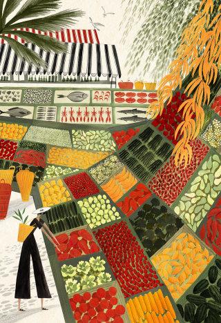 Italian Market watercolor art for Corriere Della Sera COOK Magazine