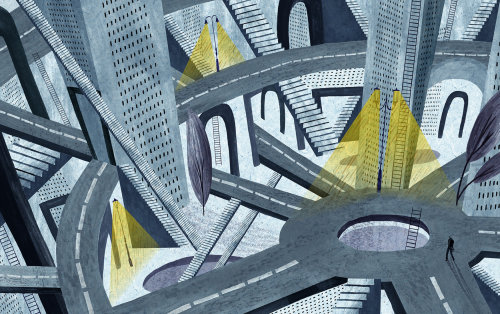Abstract illustration of city and roads