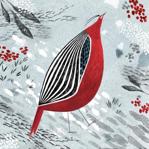 Partridge bird painting for calendar