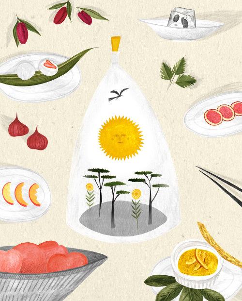 Beautiful desserts food illustration