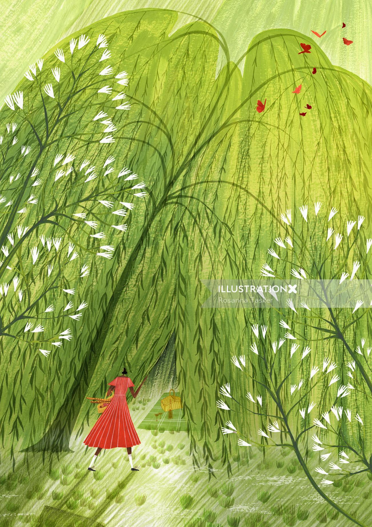 willow, tree, picnic, food, drink, summer, spring, calendar, season, sun, sunshine, warm, dress