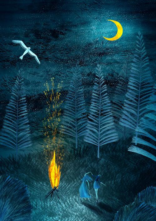 camping, camp, summer, spring, nature, wild, wilderness, owl, moonight, night, dark, campfire