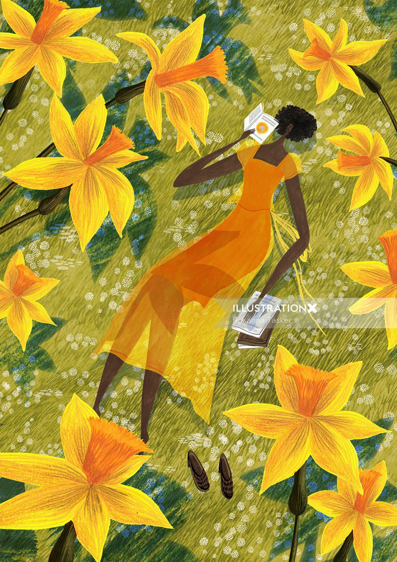 daffodil, daffodils, flowers, flower, spring, yellow, read, reading, book, books