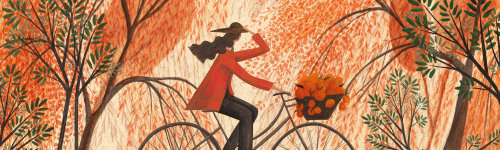 Watercolor painting of a woman riding bicycle