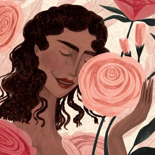 Beautiful woman painting for Nourish Magazine
