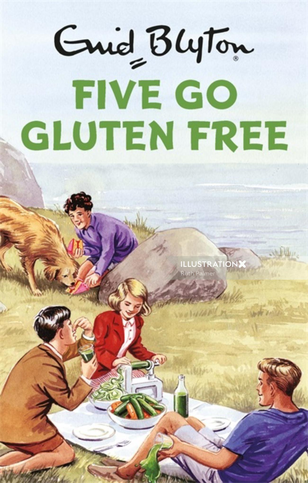 Book cover illustration of five go gluten free