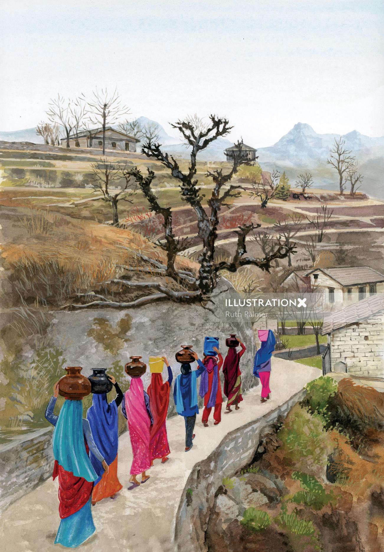 painting of ladies carrying pots on their heads