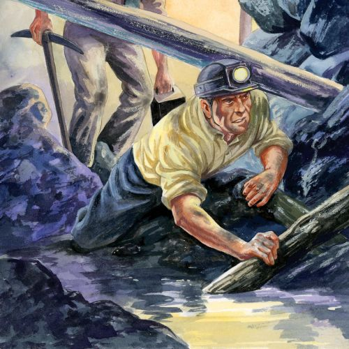 Painterly of coal miners at work