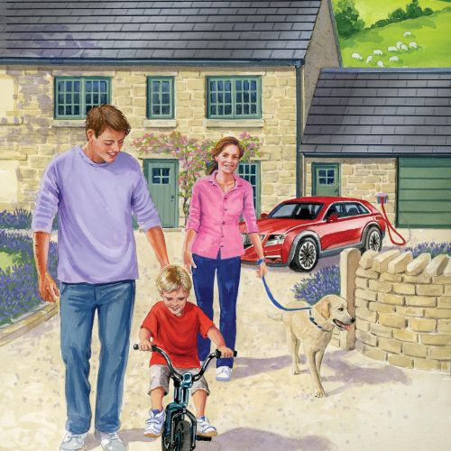 people illustration of happy family with dog