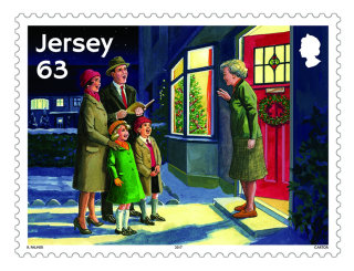 christmas stamp illustration by ruth palmer