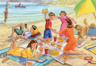friends on picnic scenery hand drawing