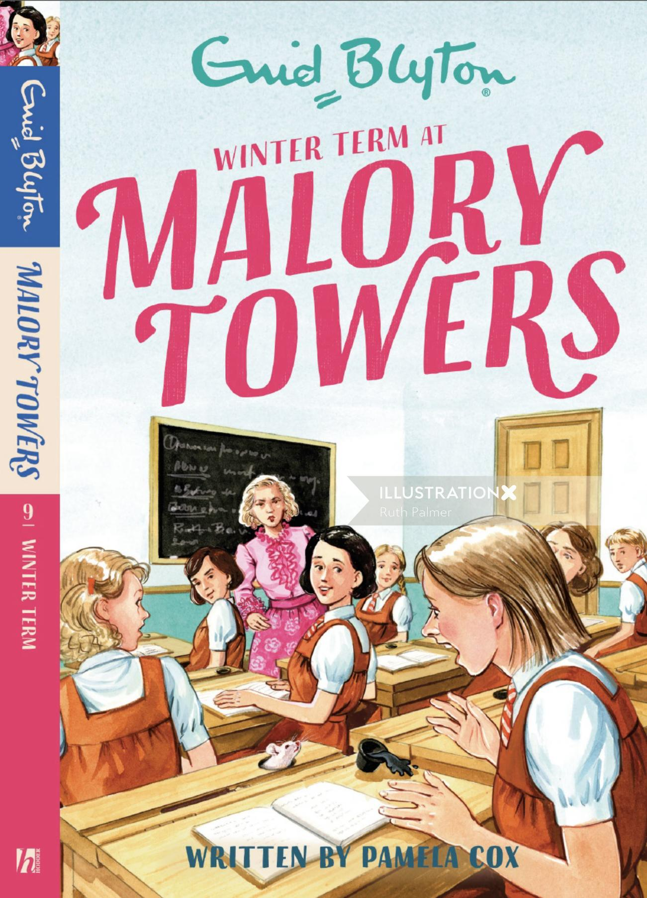 Winter term at malory towers book cover illustration