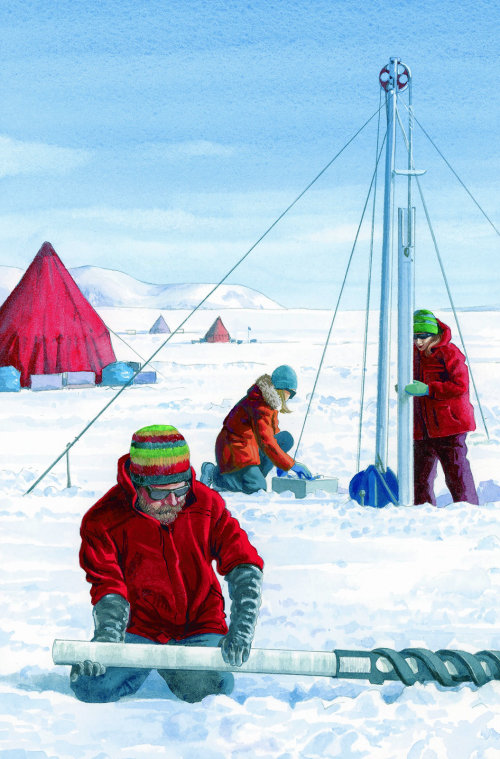 People at Winter Camping Illustration