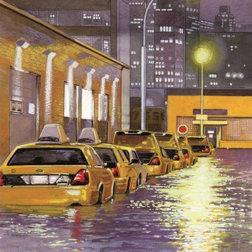 Rain flooded the city illustration