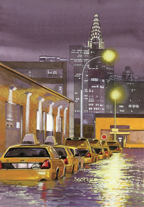 Rain flooded the city illustration