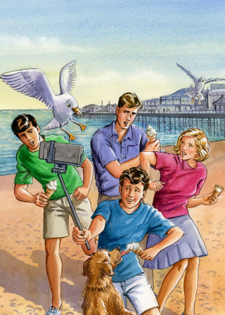 The Famous Five take a selfie greeting card