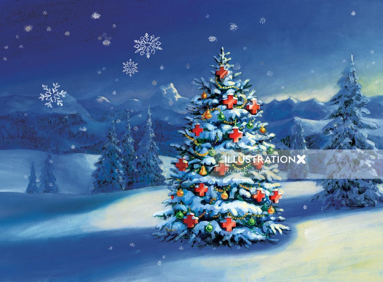 swiss red cross christmas card children acrylic