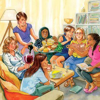 Gouache book club illustration