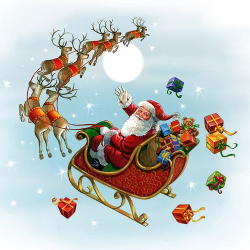 Sansburys Gouache illustration santa and sleigh