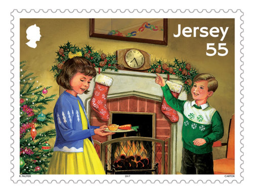 Jersey Stamps Gouache illustration Jersey Stamps