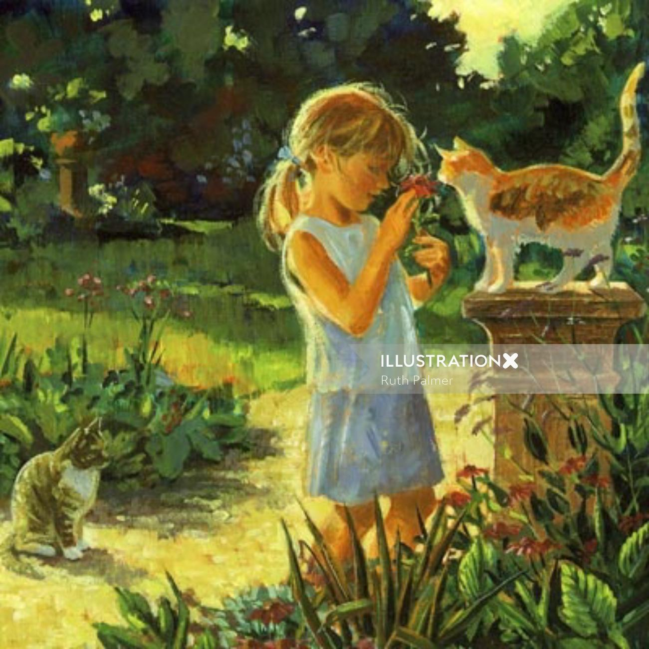 girl playing with cats in garden