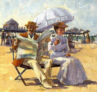 Oil Paint Illustration for Victorian seaside