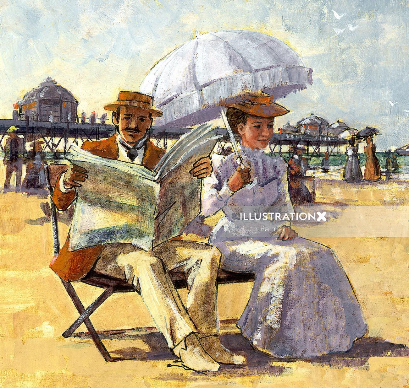 Oil Paint Illustration for Victorian seaside