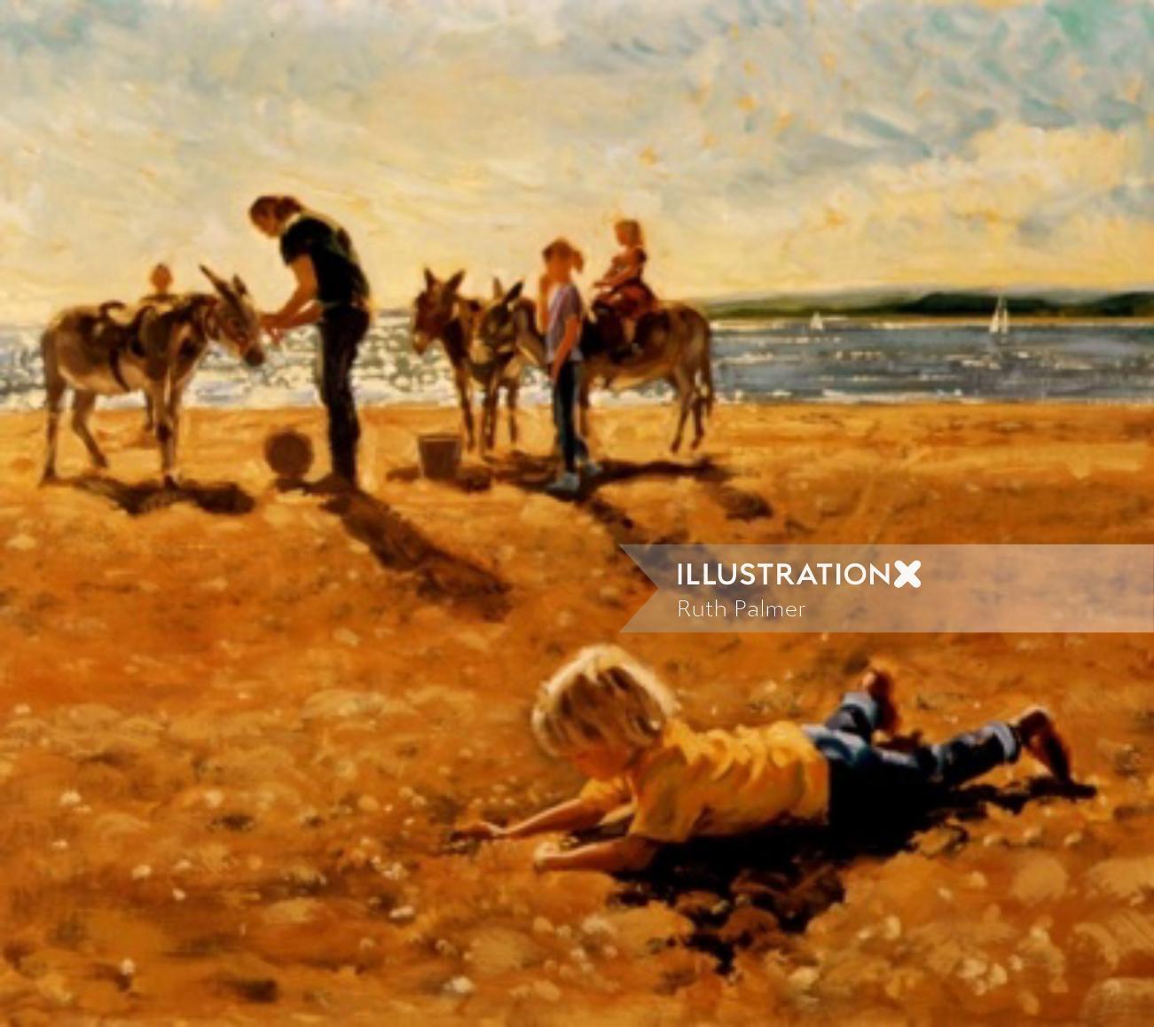 Family with donkeys at beach