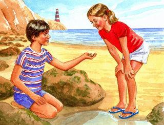 Retro illustration of kids playing at seaside