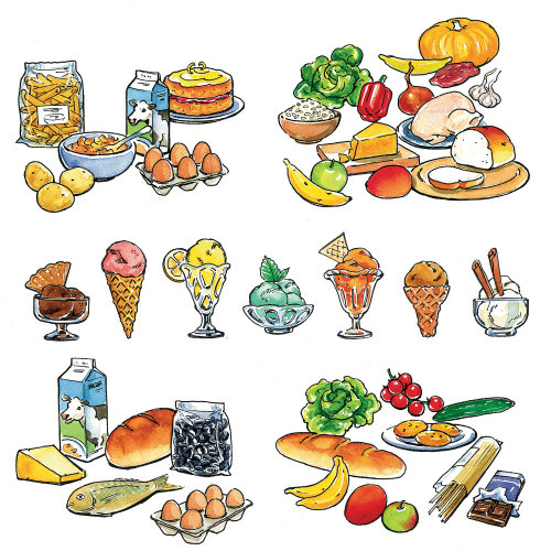 Food drawing for books