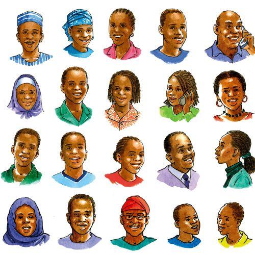 Children and Adults nigerian art