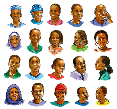 Children and Adults nigerian art