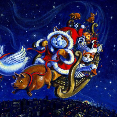 An illustration of santa puss driving sleigh